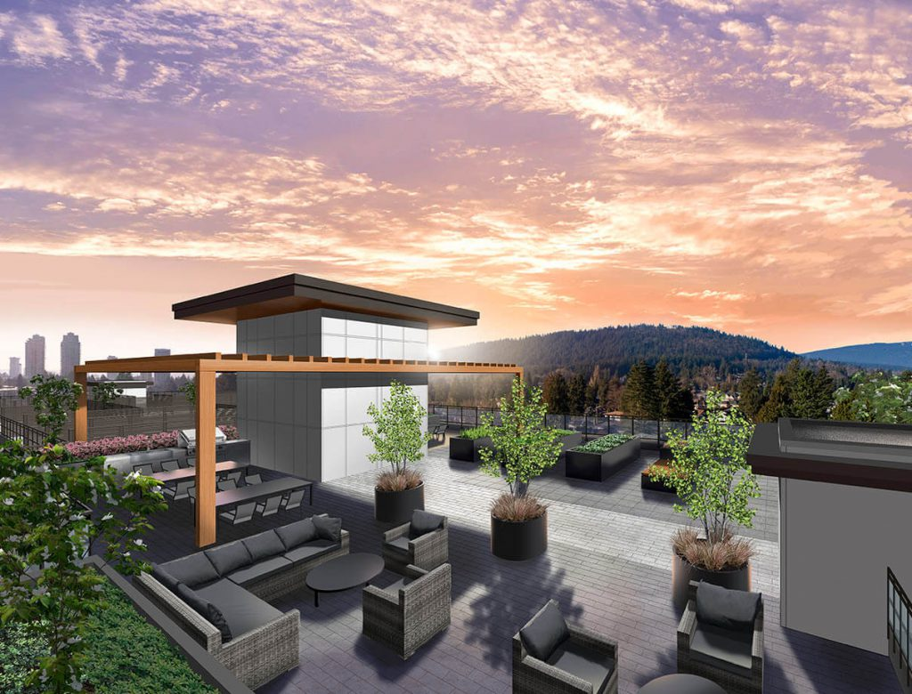 Vista Condo in Coquitlam features rooftop lounge area