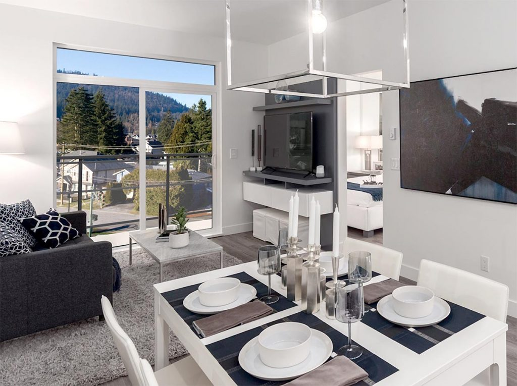 modern living and dining rooms in Vista condos